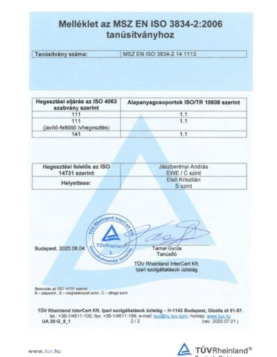 TÜV 2. tanúsítvány MSZ EN ISO 3834-2 2020.08.04-page-002